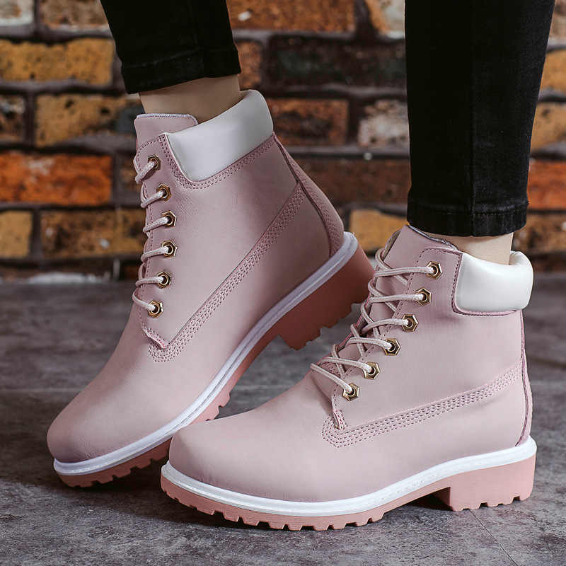 top-rated cheap 50-70%off choose clearance 2019 Leather Women Boots Dr Martin Boots Shoes High Top Motorcycle Autumn  Winter Shoes Woman Snow Boot Size 36-43