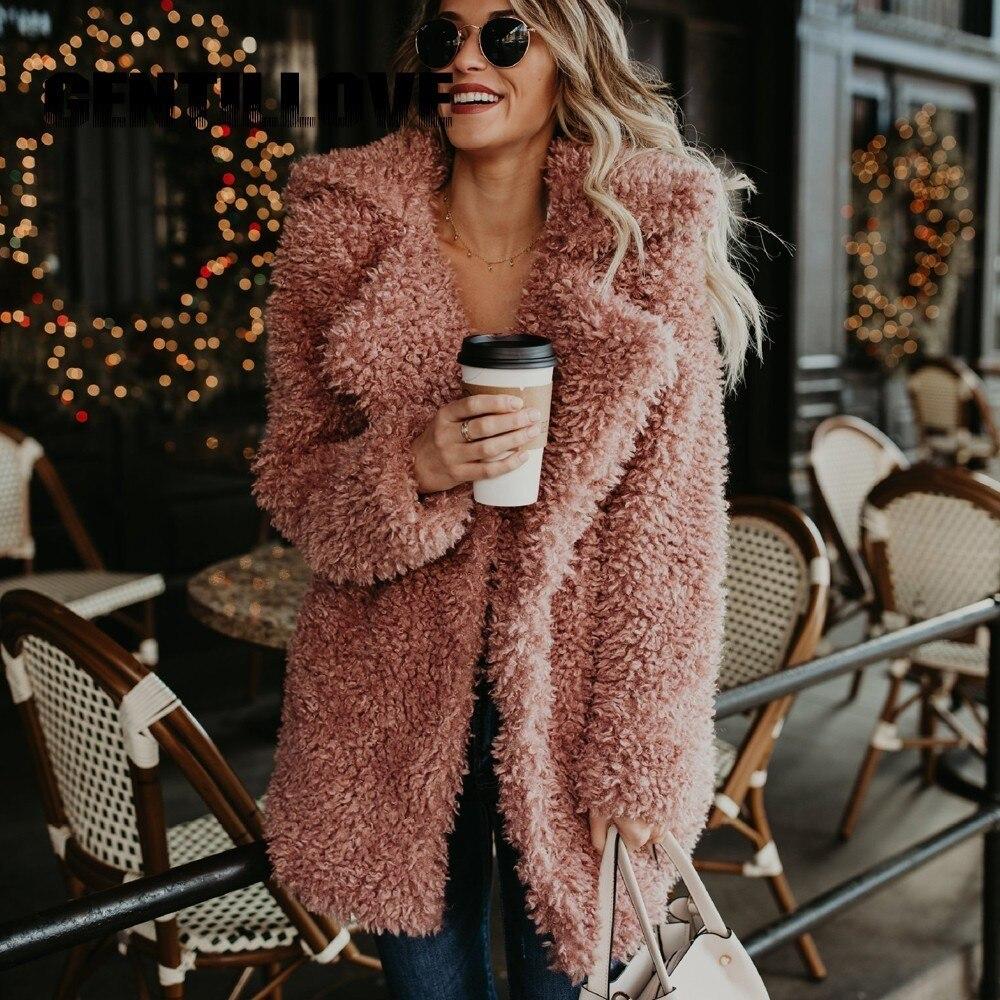 Women Winter Plus Size Faux Fur Coat Bomber Jacket Trench Wool Teddy Coat Pink Overcoat Long Sleeve Vintage Outwear Mujer jeans con blazer mujer