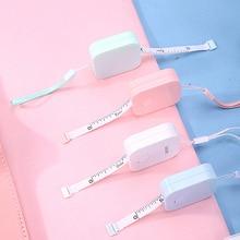 SIXONE 1.5 M * 7mm Caixa de Macaron Doce Cor de Couro Fita Métrica Governante Portátil Design de Moda Material Escolar