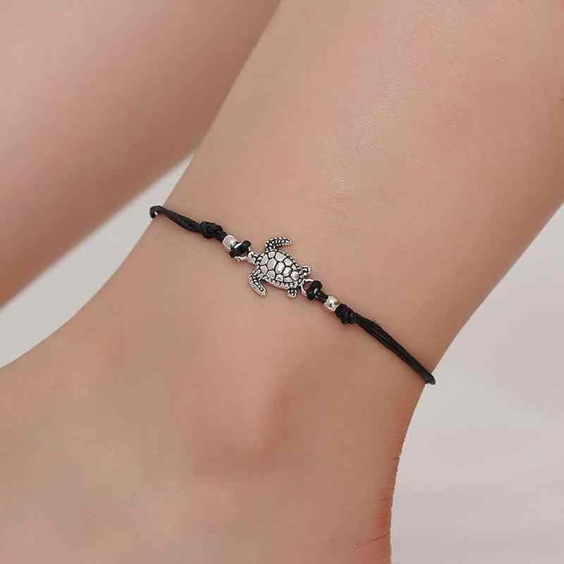 אופנה מעטפת עכס צמידי על רגל בוהמי רגל אוקיינוס תכשיטי זרוק חינם Weave צב תליון Anklets