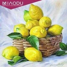 Miaodu 5D DIY 다이아몬드 회화 크로스 스티치 과일 모자이크 다이아몬드 자수 레몬 그림 라인 석 홈 장식 액세서리