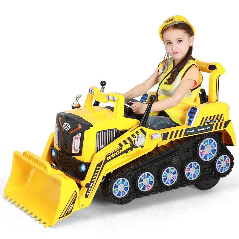 Alta configuración 2-6 años de edad niños montando juguete simulación eléctrica recargable excavadora coches
