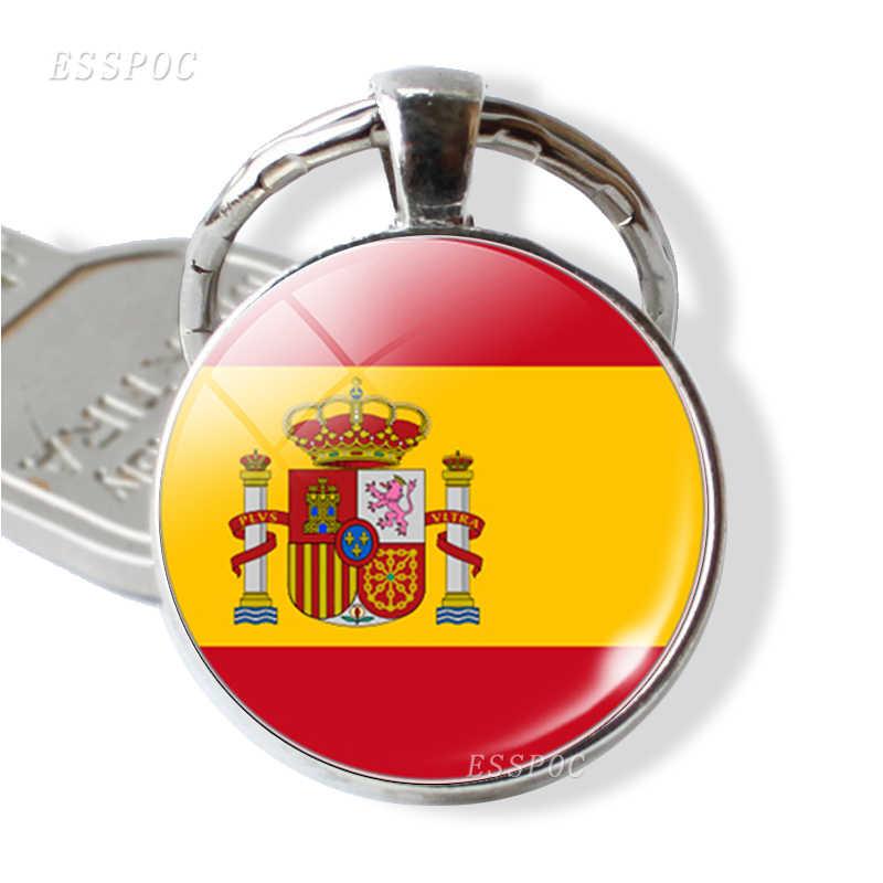 Bandera Nacional EE. UU. Reino Unido Rusia España llavero cabujón de cristal joyería llavero mujeres hombres colgante Patriot Souvenir regalos