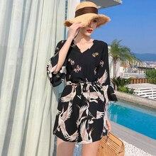 Летние женские комбинезоны с v-образным вырезом и принтом Журавля, широкие шорты с расклешенными рукавами, пляжные шифоновые Комбинезоны черного цвета