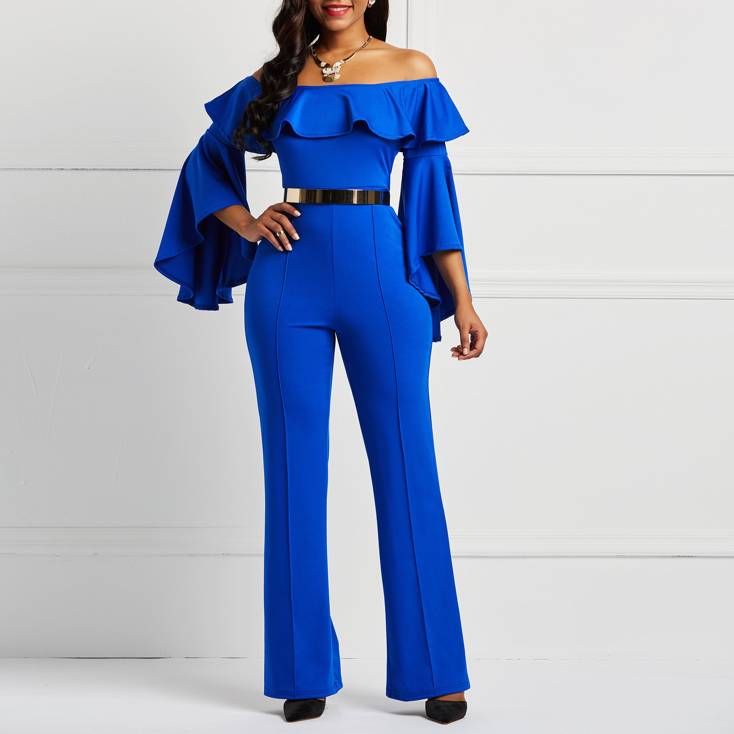 Women   Jumpsuits   Sexy Office Lady Fashion Skinny Wide Legs Plain Falbala Backless Patchwork Female Bodycon Off Shoulder Rompers