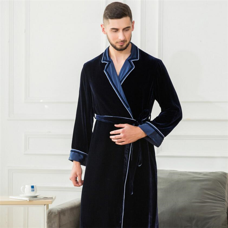 IANLAN Spring Autumn & Winter Robe Nightgown Mens Real Silk Bathrobe Long Velour Sleepwear With Waistband Thick Pajamas IL00454