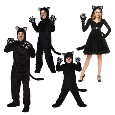 Black Cat Costume For Men Women Child Cosplay Parent child Costumes Attached Cuddly Animal Clothing Stage Performance Jumpsuits