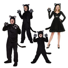 Black Cat เครื่องแต่งกายสำหรับผู้ชายผู้หญิงเด็กคอสเพลย์เด็กชุดที่แนบมา Cuddly สัตว์ประสิทธิภาพเสื้อผ้า Jumpsuits