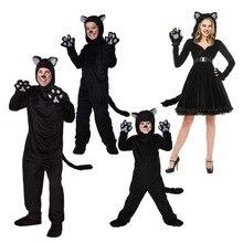 Siyah Kedi Kostüm Erkekler Kadınlar Için Çocuk Cosplay Ebeveyn çocuk Kostümleri Ekli Sevimli Hayvan Giyim Sahne Performansı Tulumlar