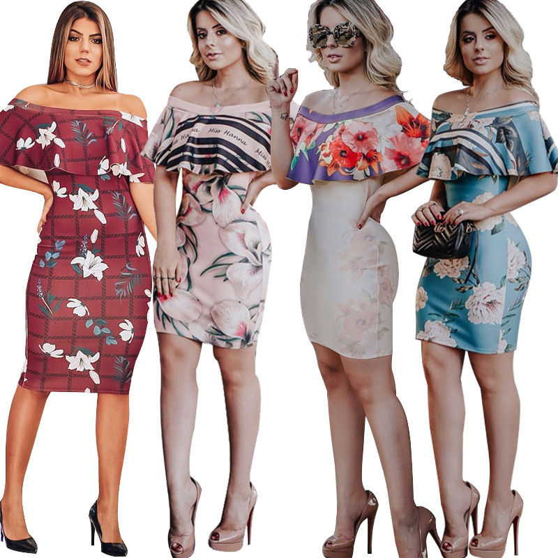 VITIANA Wemen Party Pencil Dress Female 2019 Summer Printing Off Shoulder Empire Ruffles Sheath Dresses Ladies Elegant Vestidos