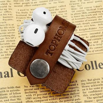 Cord Organizer Earbud Holders Earphone Wrap Organizer Headset Headphone Cord Winder Genuine Leather Cable Manager