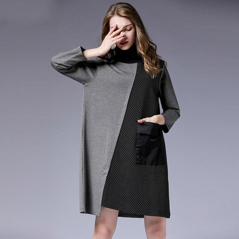 LANMREM 2018 Nuovo di Modo Del Collare Del Basamento di Colore di Contrasto Allentato Causale Femminile Manicotto Pieno delle Tasche Nero Grande sizeDress Vestido YE577