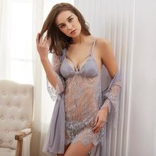 Neue Muster 3 Pcs Hohl Sexy Frauen Robe Set Nightdresss + Strickjacke + G String Mode Nachtwäsche