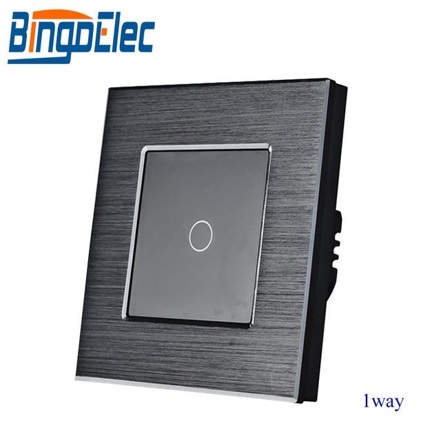 Bingoelec EU/UKมาตรฐาน 1 GANG 1 WAY TOUCH Switch,เงินโลหะสวิทช์ไฟ,AC110 250V,86*86 มม.