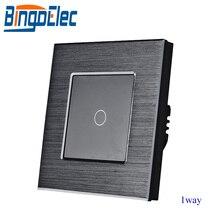 Bingoelec padrão da ue/reino unido 1 gang interruptor de toque de 1 vias, interruptor de luz de metal prata, AC110 250V,86*86mm