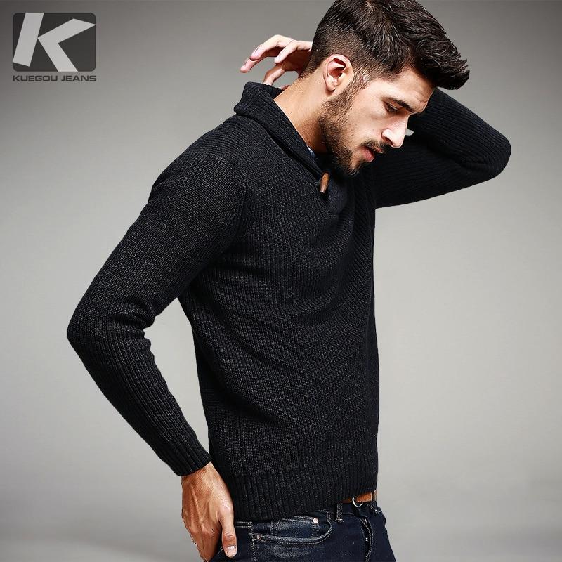 KUEGOU Automne Mens Chandails 100% Coton Tricoté Noir Couleur Marque de Vêtements Pour Homme Slim Fit Tricots Mâle Porter Pulls 15827