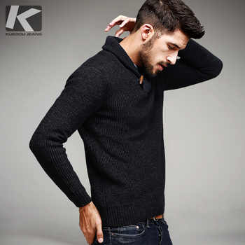KUEGOU Autumn Mens Sweaters 100% Cotton Knitted Black Color Brand Clothing For Man's Slim Fit Knitwear Male Wear Pullovers 15827 - DISCOUNT ITEM  42% OFF All Category