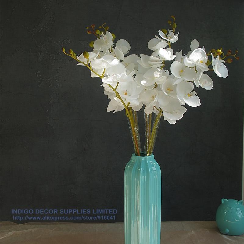 Phalaenopsis Orchid Silk Real Touch Blomma Vit Konstgjord Blomma - Semester och fester - Foto 4
