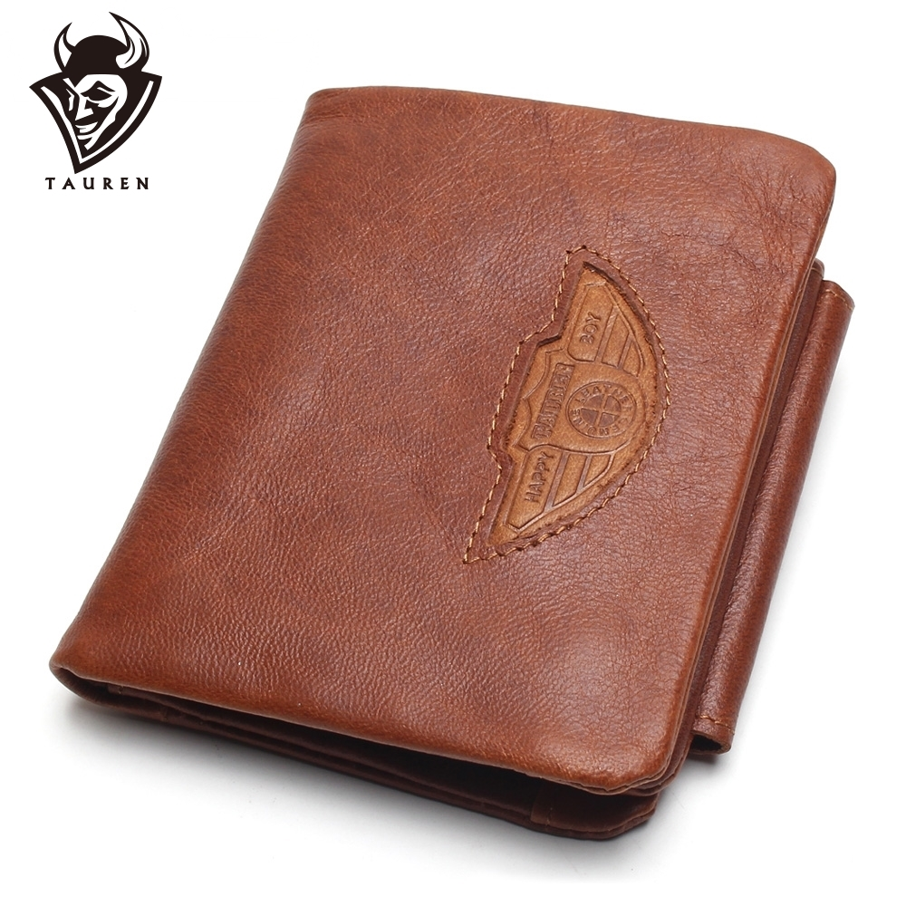 TAUREN Men Wallet 100% Design Män Trifold Plånböcker Fashion Purse Card Holder Plånbok Man Äkta Läder Med Dragkedja Myntfickor