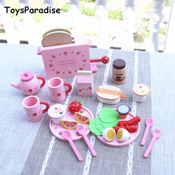 Baby Toys Simulation To Strawberry Toaster Bread Machine Kitchen Food Western Breakfast Wooden Toys For kids Educational Gift