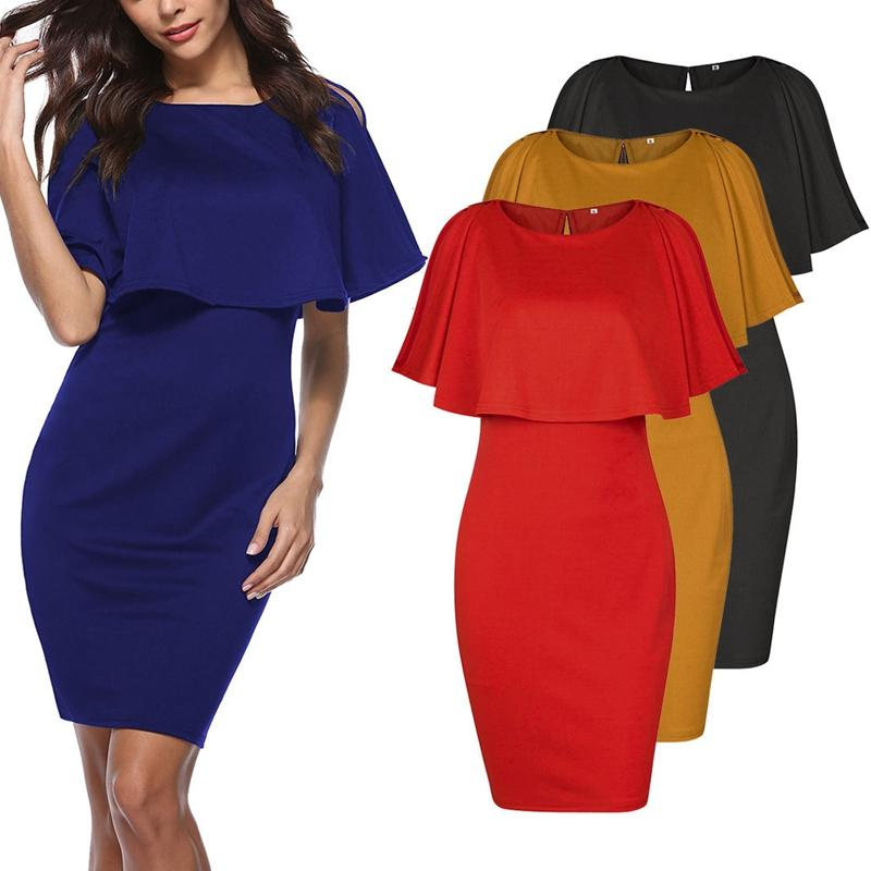 Women's Shawl Collar Sexy Slim Hip Dress Fashion Bell Sleeve Round Neck Solid Color Leisure Elegant Party Dress