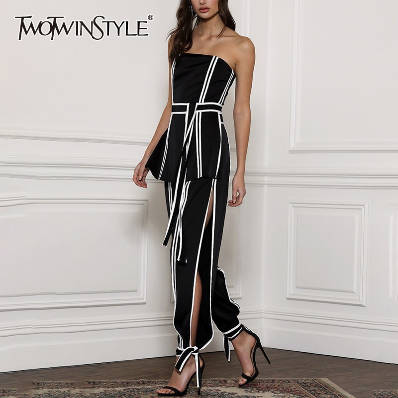 TWOTWINSTYLE Hit Color Two Piece Set Women Sleeveless Off Shoulder Bandage Tops High Waist Side Split Pants Female Suit Summer