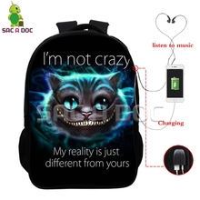 Smile 3D Cheshire Cat Multifunction Backpack USB Charging Headphone Jack School Bags for Teenagers Boys Girls Cosplay Schoolbags