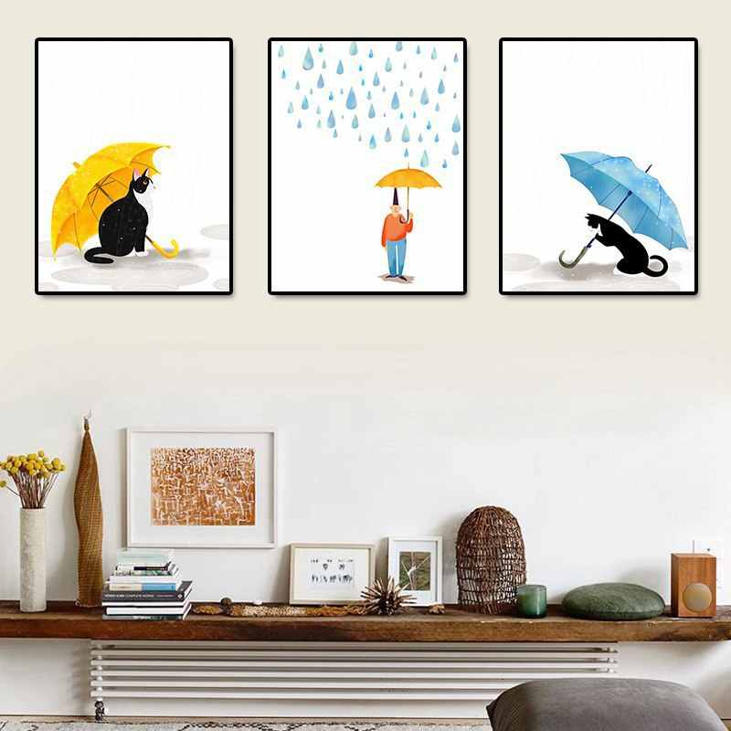 Nordic Cartoon Cat Umbrella Simple Decoration Painting Home Decoration Canvas Painting Frameless Hanging Wall Art Posters