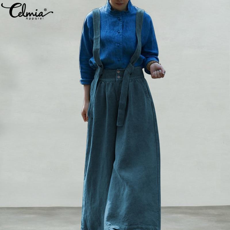 Celmia Plus Size Overalls 2019 Vintage Women   Jumpsuit   Casual Sleeveless Cotton Playsuits Female Strap Rompers Wide Leg Pants 5XL