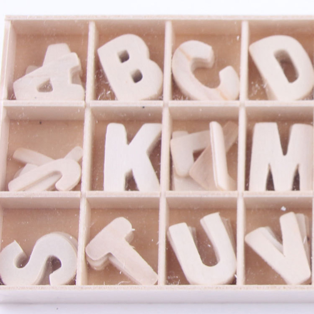 26 Pieces Wood Letters Wooden Alphabets Letter Craft Pieces For DIY Wedding Home Bar Display Decor
