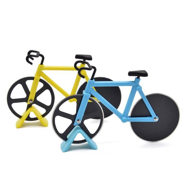 Нож из нержавеющей стали, велосипедная колесо для пиццы, нож для пиццы, двухколесный нож в форме велосипеда, режущий нож, резак для инструмента, желтый
