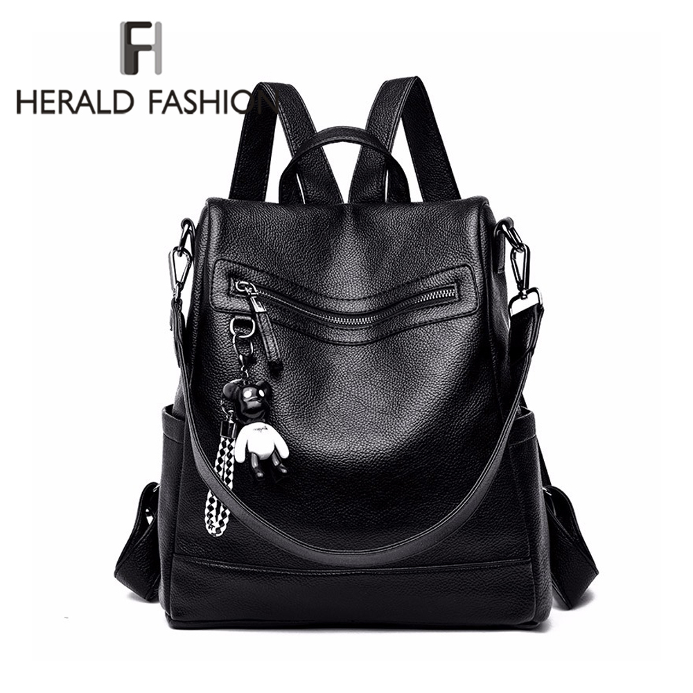 Herald Fashion Women Backpack for School Style Leather Student Bag For College Simple Design Women Casual Daily Packs mochilaBackpacks   -