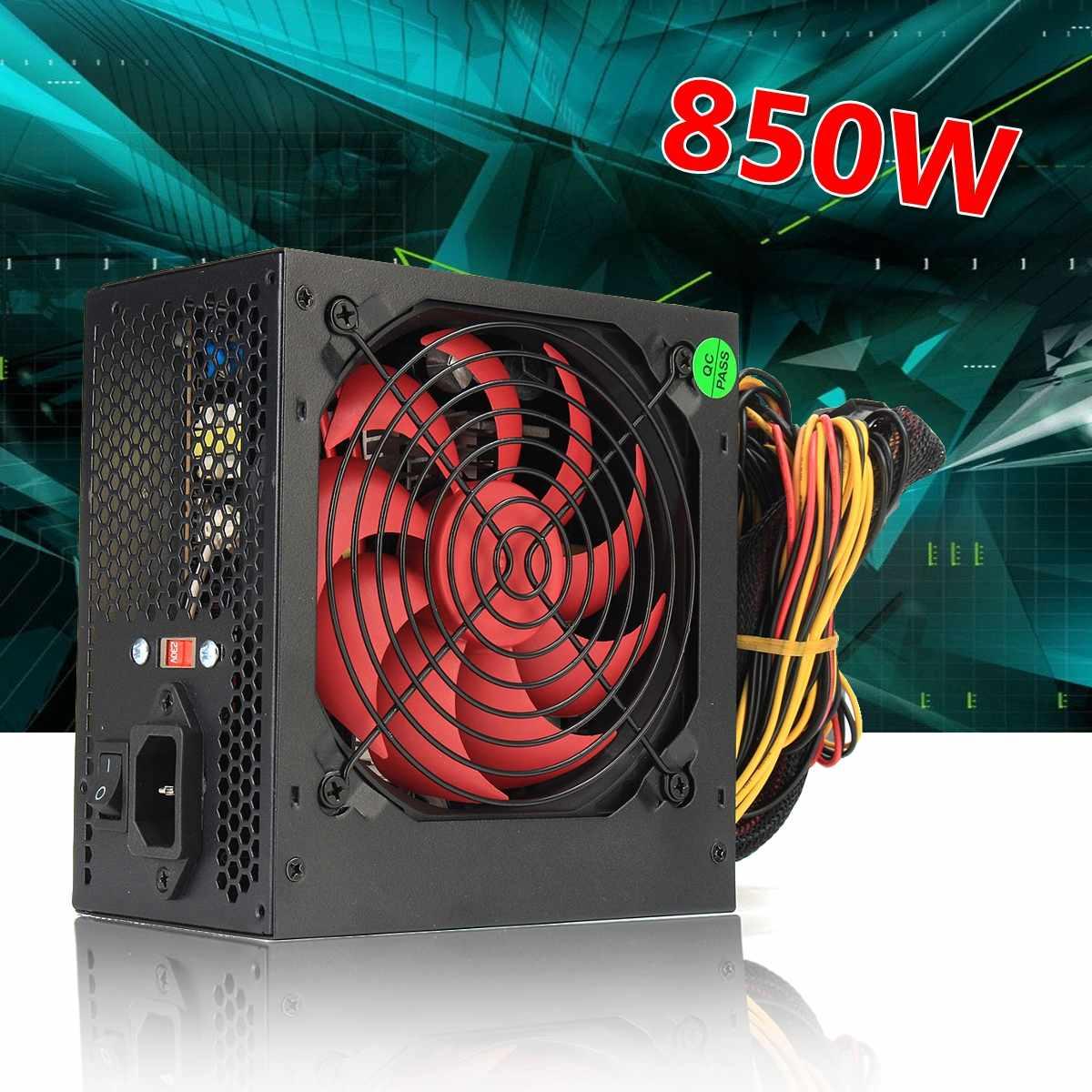US/AU/EU Plug 850W 850 Watt BTC Power Supply 120mm Fan 24 Pin PCI SATA ATX 12V Molex Connect Miner Computer Power Supply