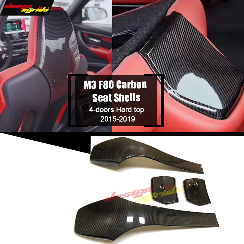 M3 F80 4-doors Hard Top Sedan M Style Carbon Fiber Interior Trims Back Seat Shells Cover 4 Pcs / 1 Set For BMW F80 M3 2015-2019