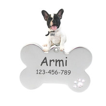 Incisione Dog ID Tag In Acciaio Inox Cat Tag Tag Personalizzati 6211002 Collare Dell'animale Domestico Accessori Per la Decorazione(China)