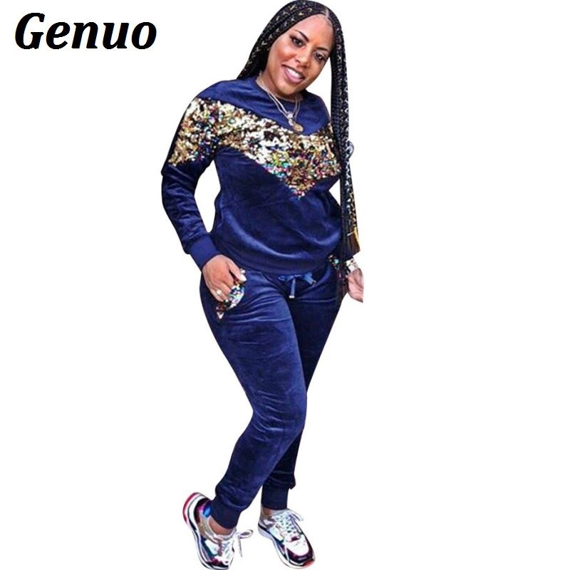 Genuo Thick Velvet Sequin 2 Piece Set Women Tracksuit Hoodies Tops and Pant Casual Outfits Suits Autumn Winter Velour Sweatsuit
