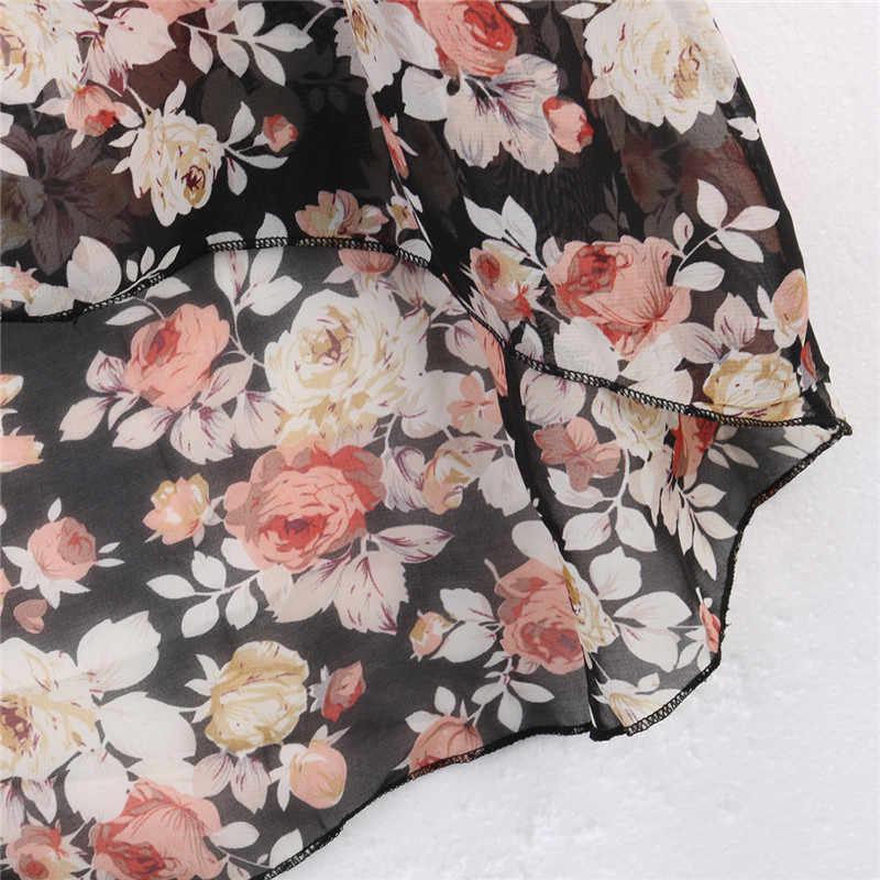 バットウィングスリーブシフォンブラウス女性カジュアル花柄ルーズ着物シャツビッグサイズのビーチチュニックペプラム Blusas ローブ