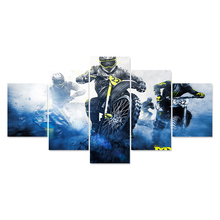 Wall Art For Living Room Modular Picture 5 Panel Motorcycle Racing Framed Abstract Modern Home Decor Canvas Print Painting