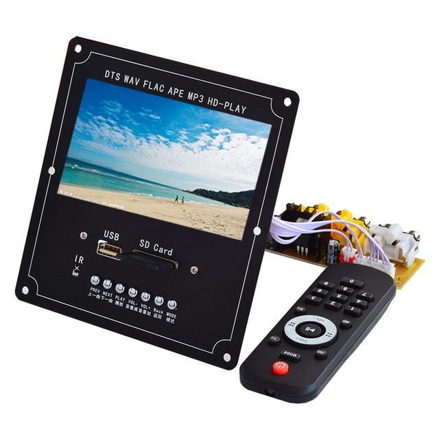 Claite 4.3 lcd dts placa de decodificador de vídeo de áudio sem perdas bluetooth receptor mp4/mp5 vídeo ape/wma/mp3 decodificação suporte fm