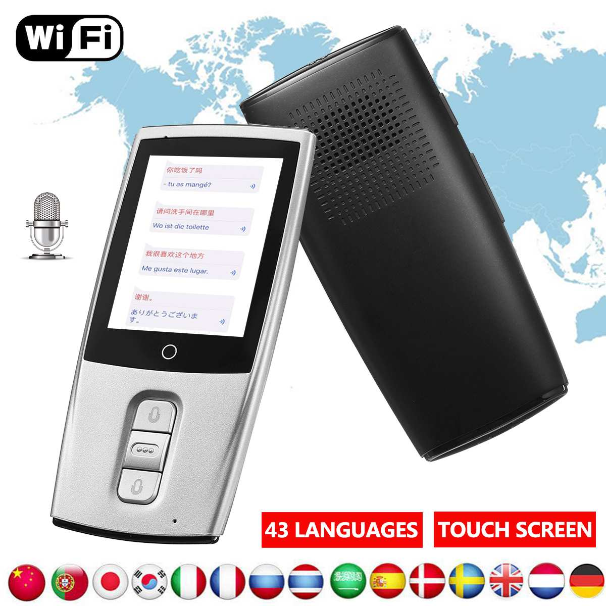 2.4inch Smart Voice Translator Two Way Portable Traductor Real Time WiFi Translation 43 Languages Learn Russian English Language