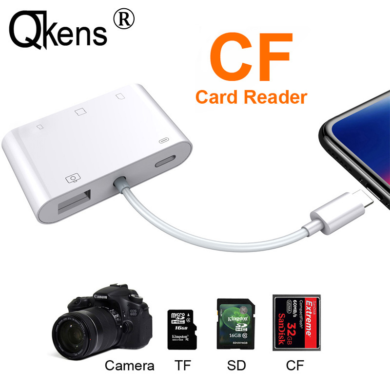 5in1 SD TF CF Card Reader USB Camera Connection Kit OTG Cable Adapter For IPhone X XS MAX XR 5 6 6S 7 8 Plus For IPad IOS 11/12