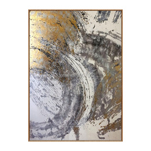 Artist Hand-painted High Quality Abstract Oil Painting on Canvas Handmade Beautiful grey and gold Colors
