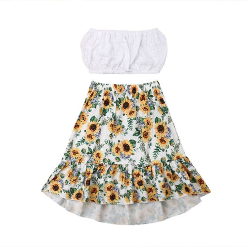 US Toddler Kids Baby Girls Crop Tops Sunflower Pants 2Pcs Summer Outfits Clothes