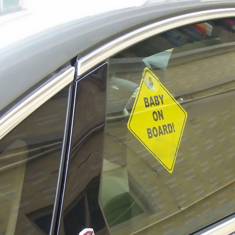Image 4 - 1mm Thickness Car Sticker BABY ON BOARD Baby Car Warning Signal Safety Sign Environmental Protection Suction Cup Style Sticker-in Car Stickers from Automobiles & Motorcycles