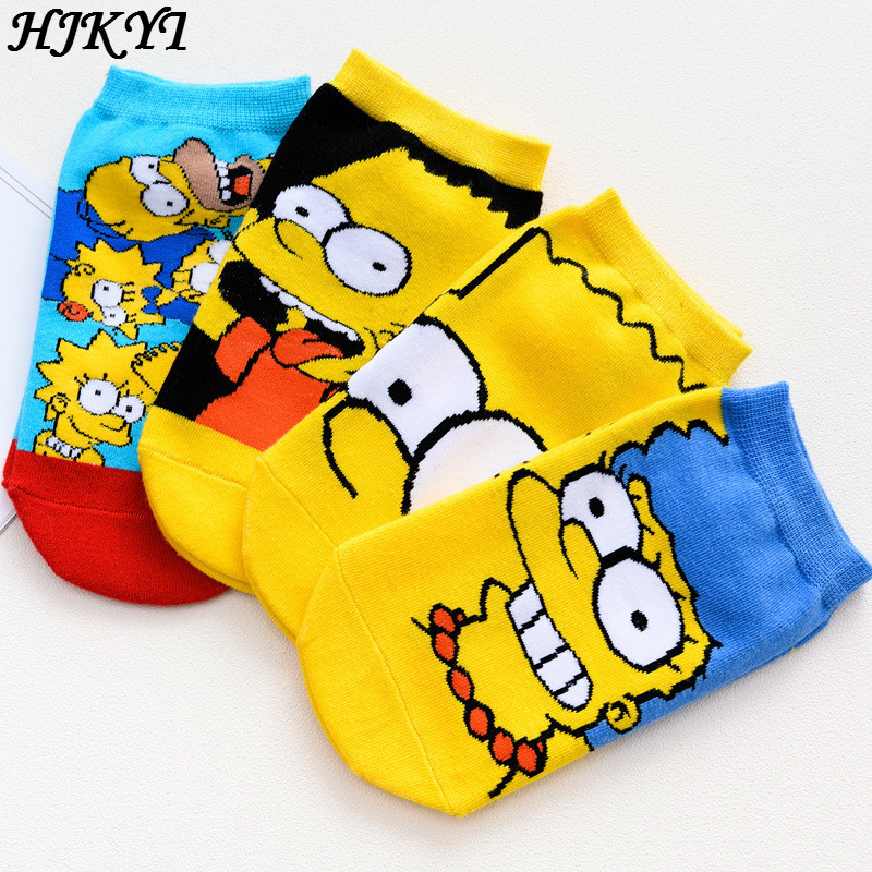 HJKYT 2019 Shoes Woman Cartoon Simpsons Socks Art Novelty Anime Men Short Breathable Invisible Happy Funny Lovely Cotton Colored