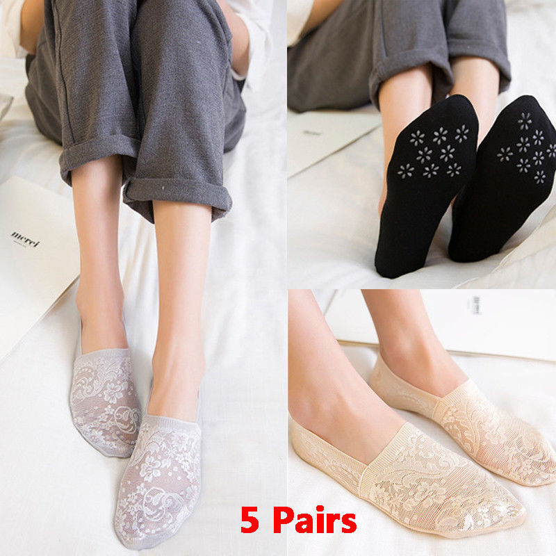 Ladies Rose Flower Cotton Lace Low Cut Socks Invisible Liner Antiskid No Show