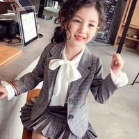 Girl Suit Autumn Suit 2018 New Style Girl's Style Checked