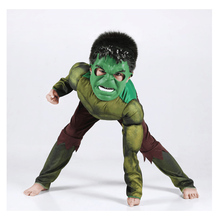 The Hulk Costume The Avengers Superhero Cosplay Purim Kids Boys Clothing Halloween Muscle Jumpsuits And Mask Fancy Dress new arrival child boys the avengers superhero muscle thor costume