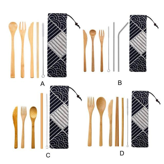 Bamboo Cutlery Spoon Straw Cutlery Set Portable Japanese Kitchen School Work Travel Tableware Cooking Tools Storage Bag