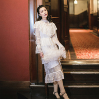 New woman white dress long flare sleeve water soluble lace dress